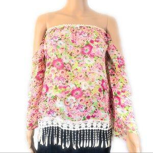 Anthropologie Lulumari Shirt Sz Small Pink Green